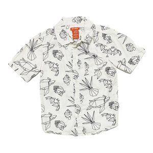 White w/Black Geo Sea Creature Button Down Shirt